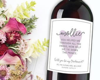 Bridesmaid Proposal Label, Will you be my bridesmaid wine labels, Maid of honor ask gift, Wedding Wine Labels, Bridal Party Champagne labels