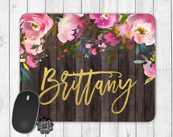 Personalized Mouse Pad, Desk Accessories, Personalized Gifts, Monogram Mouse Pad, Desk Decor, Work Mouse Pad, Office Gift, Floral Mouse Pad