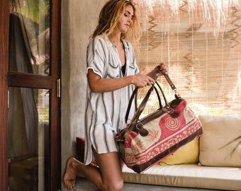 Weekender Bag, Womens Bags, Embroidered Tribal Bag, Large Shoulder Bag, Ethnic Indian Bag, Boho Leather Bag, Tribal Handbag