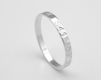 Coordinates Ring Silver Stackable Latitude Longitude Ring Personalized coordinates Jewelry Location Ring stacking ring Dainty ring