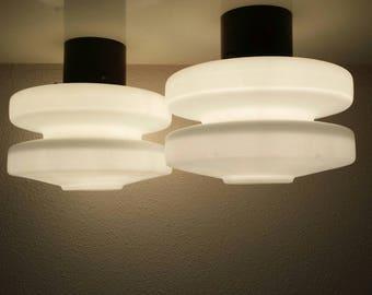 Set of 2 Dutch design 60s  ceiling - wall lights Holland (light  lamp  Hanging  50s 70s retro vintage mid century Raak Philips )