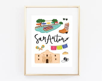 Illustrated San Antonio Art Print