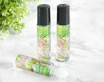 Rose Perfume Oil - Girlfriend Gift - Gifts Under 15 Dollars - Roll On Perfume - Green Tea Fragrance - English Rose Fragrance - Beauty Gift