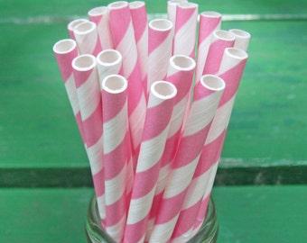 Pink and White Straws, 50 Pink Straws, Paper Straws, Party Straws, Striped Straws, Valentine's, Birthday, Baby Shower, Party Decoration