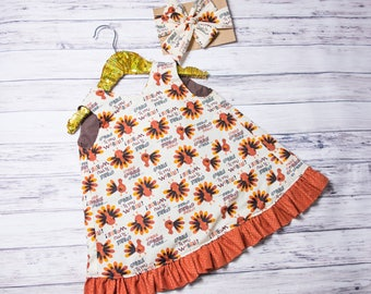 Thanksgiving outfit, Turkey Dress and Shorts Set, Thanksgiving head wrap, fall baby outfit, Thanksgiving dress, Turkey Day Pinafore