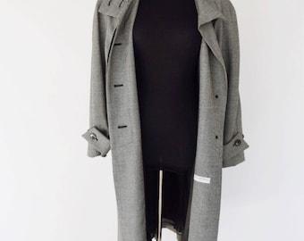 VTG Ted Lapidus Paris Oversized Wool Checkered Print Swing Coat