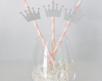 12 Crown Party Straws - Princess - Birthday Party - Princess Party - Royal - Queen - Silver Glitter - Drink Stirrer - Baby Shower