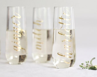 THE ORIGINAL Stemless Champagne Flute / Bridesmaid Proposal Gift / Bridesmaid Gift / Personalized Bridesmaid Champagne Glasses / Bride Gift