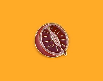 Blood orange enamel pin - feminist fruit - lapel pin - badge - brooch - period pride pin - citrus juice