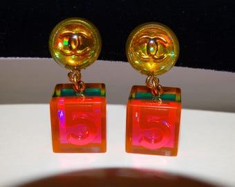 RARE Chanel #5 Autentic VGE Iridescent Color Clip-on Earrings.