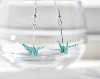 Origami Crane Earrings.Choose your own colour.Origami Gift.Origami Earrings.Gift.Origami Jewellery.Miniature Origami.Mothers Day Gift.