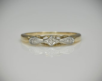 Art Deco C.1930s 14K Yellow and White Gold Wedding, Midi or Right Hand Stacking Band with Three Single Cut Diamonds LV105