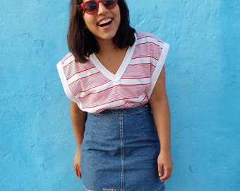 80's Red & White Striped Blouse