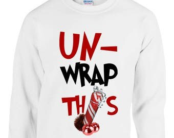 Un-Wrap This Funny Crude Unisex Christmas Jumper Parcel Package Funny Rude