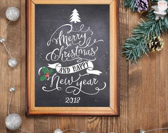 Christmas chalkboard printables, Christmas decor art, Merry Christmas and happy new year card, holiday print decor, Christmas art BD-468