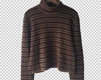 90s Plush Turtleneck Striped Cropped Sweater // Brown Black Super Soft Wool Blend Cropped Super Soft Sweater Ribbed // Women's Large
