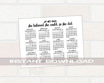 PRINTABLE 2018 Calendar 11x17, 2018 Year at a Glance, Printable New Year Calendar, Inspirational Calendar, She Believed She Could Calendar