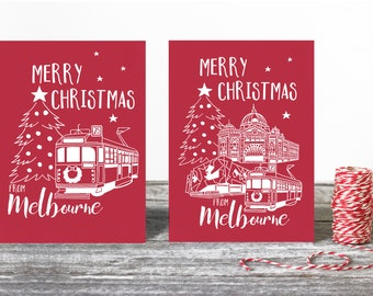 Merry Christmas from Melbourne 4 card pack of Christmas cards