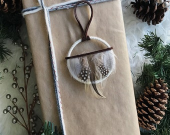 White Christmas Tree Ornament, Rustic Christmas Ornament, Dream Catcher Gift for Women, Modern Rustic Holiday Decor, Boho Gift for Friends
