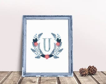 Baby Initial Decor U | Letter Floral Wreath, Name Letter Poster, Floral Wreath Letter, Personal Nursery Art, Letter Poster