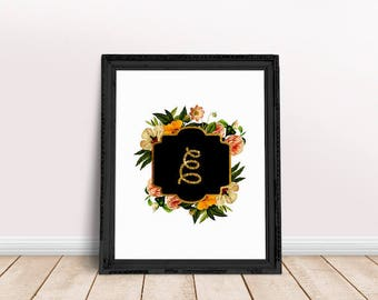Baby Initial Decor E   Elizabeth, Name Letter Poster, Letter Floral Wreath, Floral Wreath Letter, Name Letter Poster, Emma