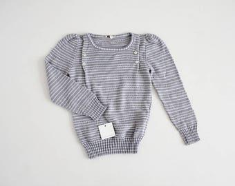 70s sweater | grey stripe sweater | bib sweater