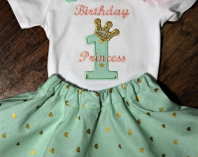 Mint Green first birthday outfit, Princess birthday,1st birthday outfit, Mint green and gold,girls 1st birthday, girl first birthday shirt