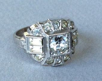 Clark and Coombs Art Deco Crystal Ring Size 7
