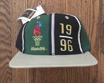 Vintage 90s Deadstock Olympics 1996 Atlanta Logo Athletic Snapback Hat Baseball Cap