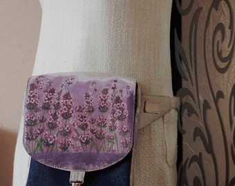 Fancy hip bag Fanny pack lavender flowers denim linen waist bag Monogram fanny pack Festival Pocket Belt bag Women utility belt bag