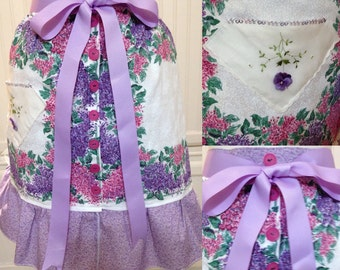 Vintage half apron cotton napkins purple pink lilacs lavender ribbon ties extra long ties vintage buttons hanky pockets crocheted violet