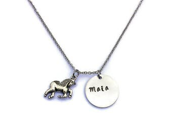Personalized Unicorn Necklace - Unicorn Jewelry - Silver Unicorn - Unicorn Charm - Unicorn Jewellery  - Personalzied Unicorn Necklace