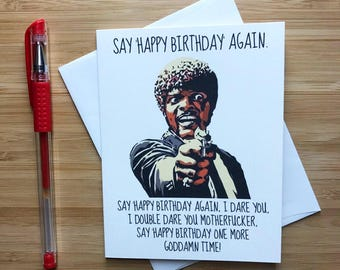 Pulp Fiction Happy Birthday Card, Jules Winnfield, Samuel L Jackson, Funny Birthday Card, Birthday Card, Funny Greeting Card, Greeting Card