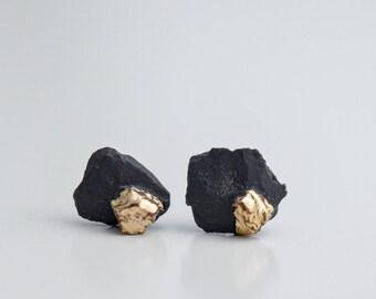Mens earrings, earrings for men, black earrings, small earrings, ceramic earrings, porcelain earrings, black stud earrings, glossy earrings