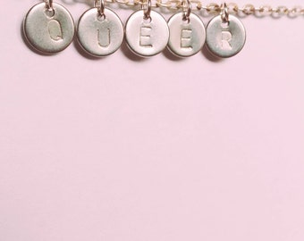 QUEER Choker Necklace Handstamped