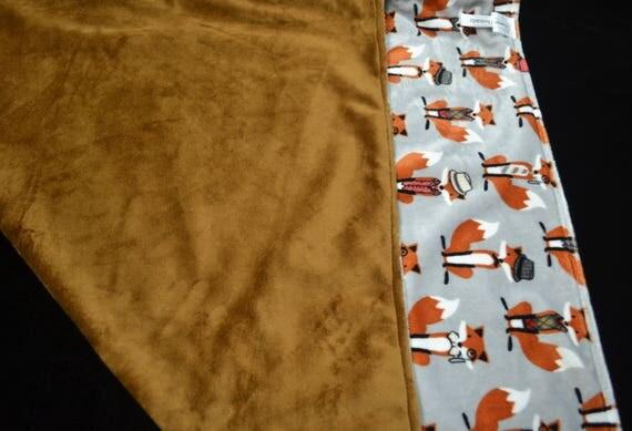 Personalized Minky Baby Blanket-Baby Boy Blanket-Minky Baby Blanket-Brown, Grey Fox  Minky Baby Blanket-Going Home Blanket-Soft Baby Blanket