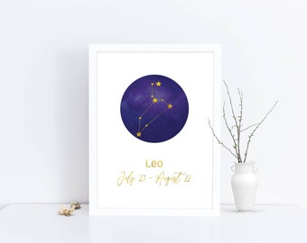 LEO print, constellation, PRINTABLE, download digital, constellation print, zodiac print, wall art, home decor, astrology, zodiac sign, leo