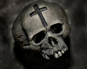 Cross Skull Ring,silver skull ring,mens skull ring,
