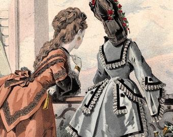 1871 Antique Fashion Print Hand Colored Engraving Frank Leslie's Lady's Magazine Women Beauty Culture Dresses 1800s