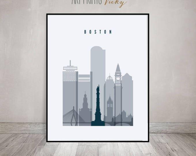 Boston skyline print, Poster, Travel Wall art, Massachusetts, City poster, Typography art, Gift, Home Decor, Travel decor, ArtPrintsVicky