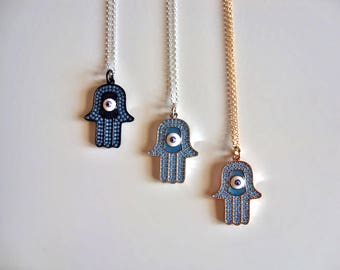 Hamsa Necklace / 14K Gold Vermeil or Sterling Silver / Hand Of Fatima Necklace / Evil Eye Necklace / Kabbalah Necklace / Protection Necklace