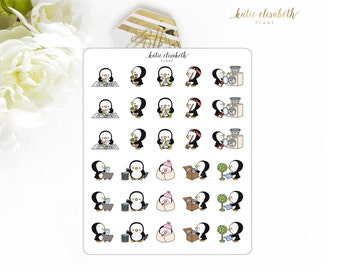 Cute Penguins Set 1 || Planner Stickers