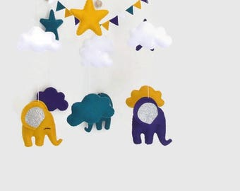 Baby crib mobile.  Mobile or room decoration. nursery decor. Felt mobile. Elephant cloud star and guarland  felt mobile.
