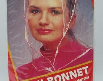 Vintage Rain Bonnet, Color Covers, 1990, Pink and Clear Rain Bonnet