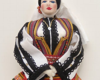 Yugoslavian Cloth Souvenir Doll, Serbian Souvenir Doll, Large Yugoslavian Serbian Folk Doll