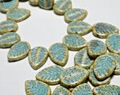16X12mm Ivory Turquoise Wash Carved Leaf, Artisan Czech Glass Beads, 6pcs, DIY Jewelry, Bohemian Glass Bead Supply