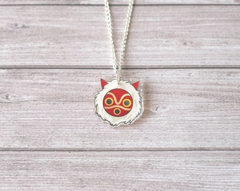 Princess Mononoke mask necklace - Miyazaki, studio Ghibli, kawaii, cute, geek, Japan, japanese