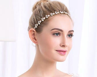 Gold Bridal Head Band, Wedding headband, Gold Rhinestone and Pearl headband, Bridal Headband, Bridal Hair Accessory, Wedding hair Accessory