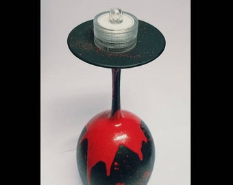 Halloween BLOOD DRIP wine glass candle holder