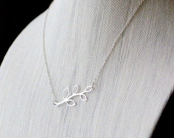 Sterling Silver Branch Necklace Sideways Open Leaf Connector Simple Minimal Layering Botanical Nature Jewelry Horizontal Branch Pendant